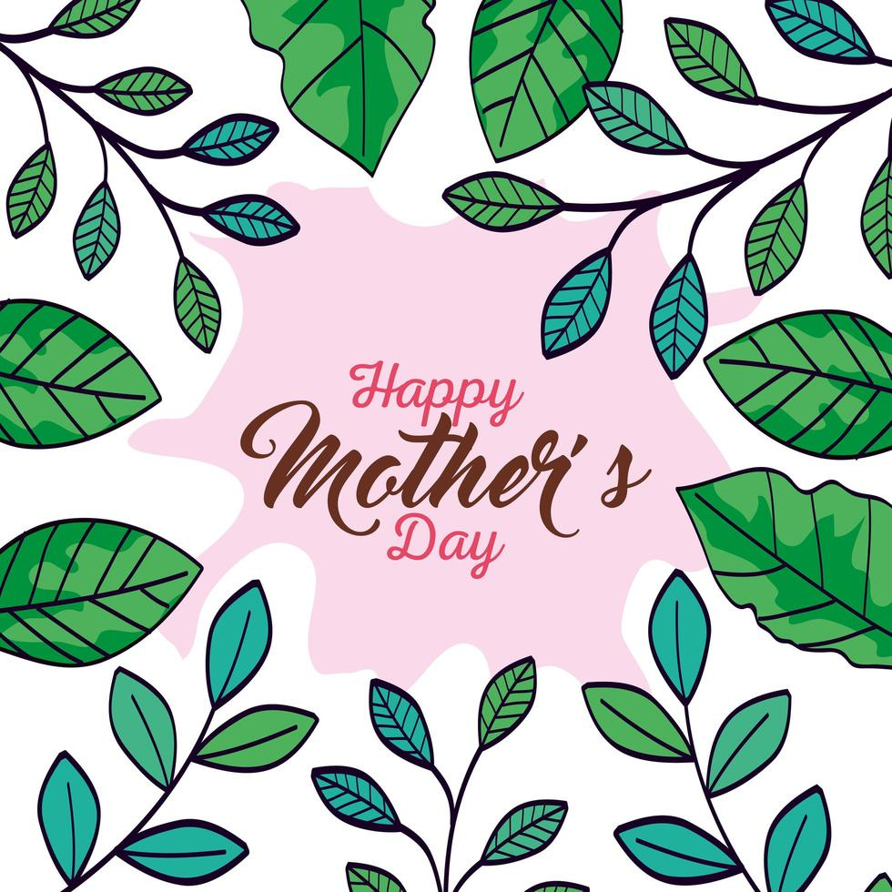 gelukkige moederdag kaart met frame van bladeren decoratie vector