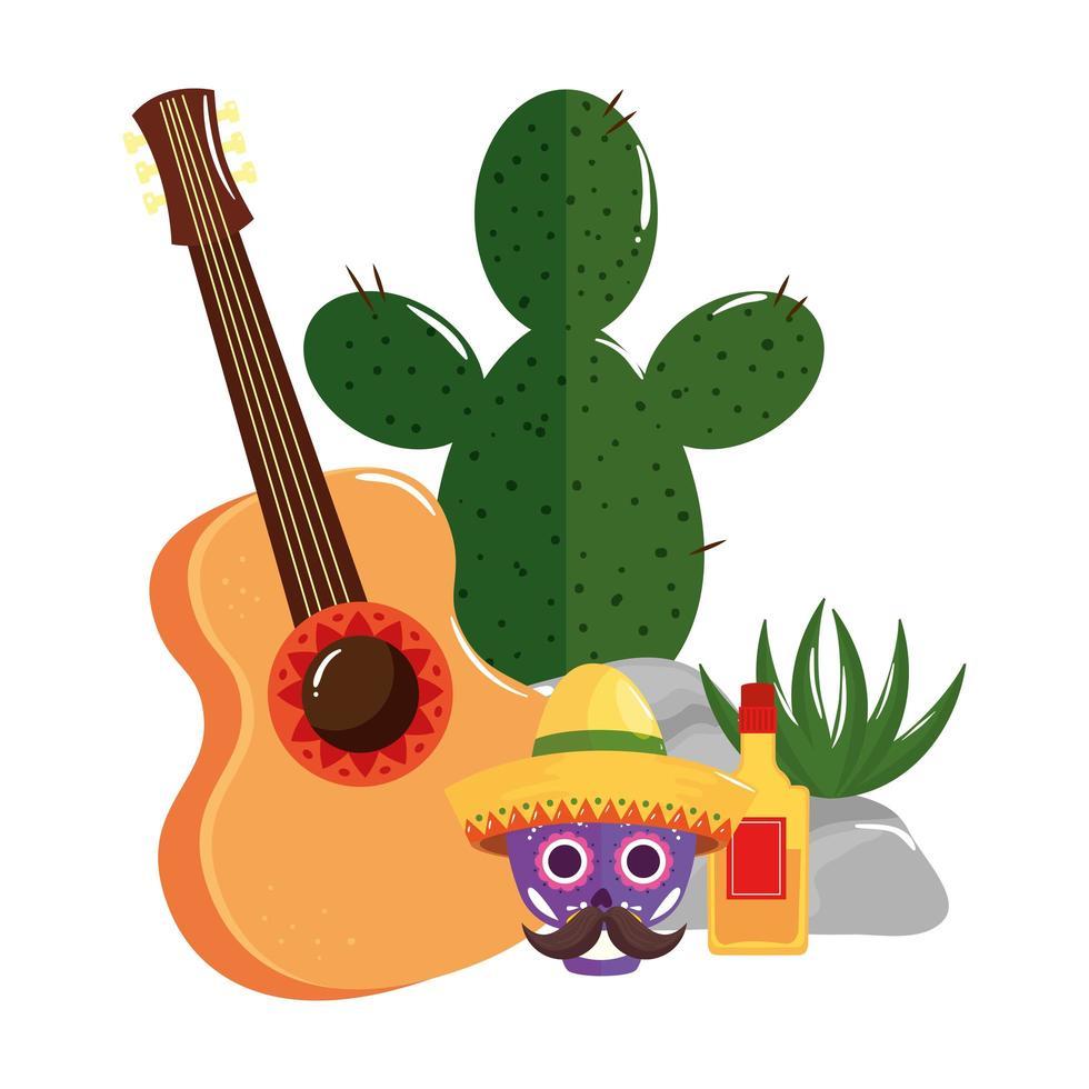Mexicaanse schedel met tequilafles van de hoedengitaar en cactus vectorontwerp vector