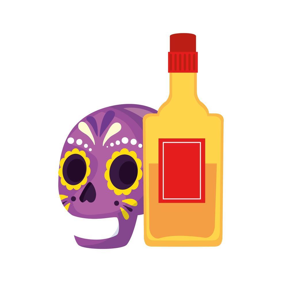 geïsoleerde Mexicaanse schedel en tequila fles vector ontwerp