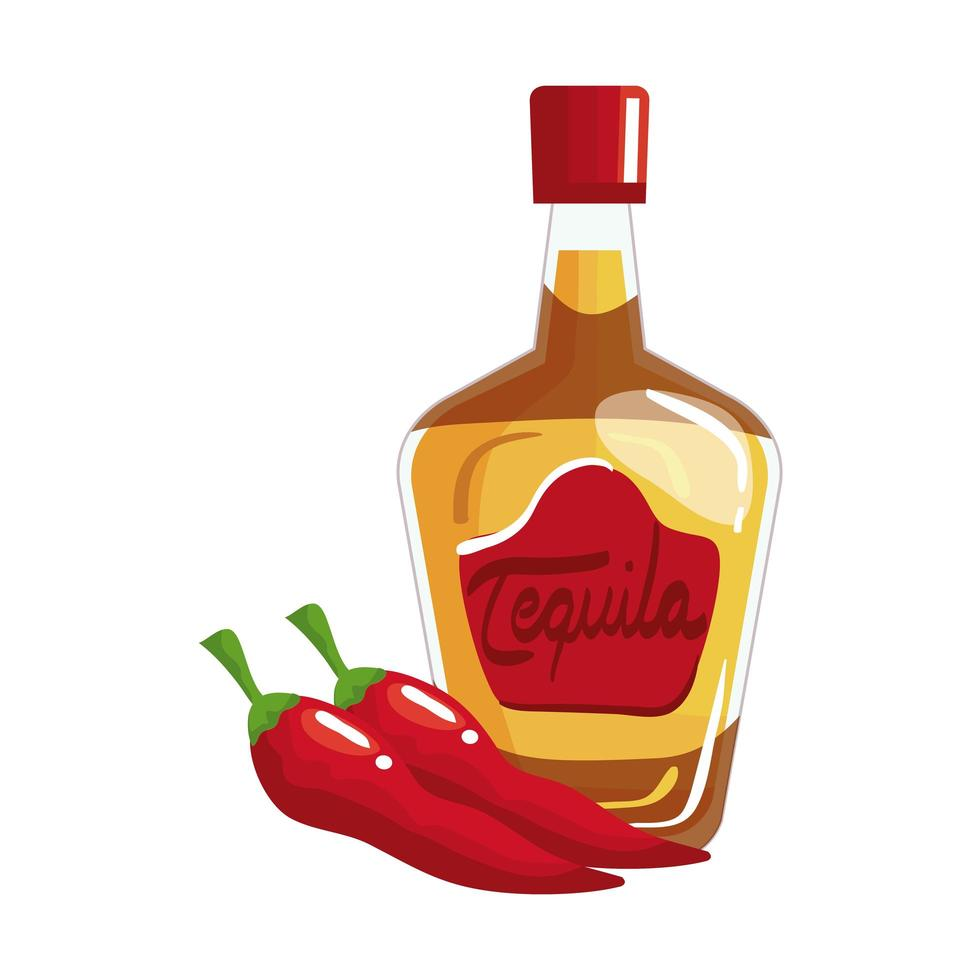 geïsoleerde Mexicaanse tequilafles en chillis vectorontwerp vector