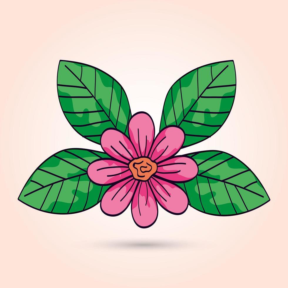 schattige bloem roze kleur met bladeren vector