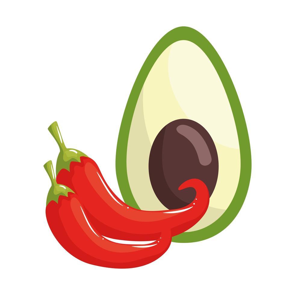 geïsoleerde chili en avocado vector ontwerp