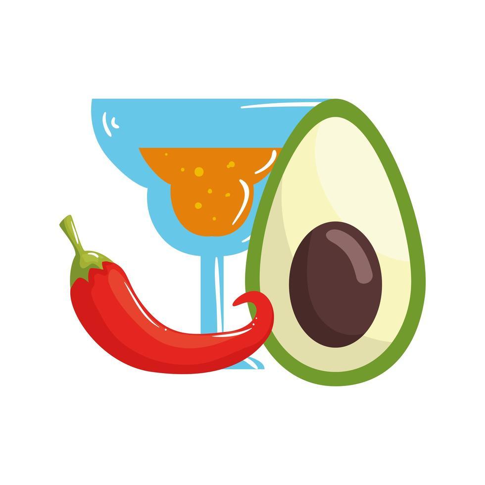 geïsoleerde Mexicaanse cocktail avocado en chili vector ontwerp