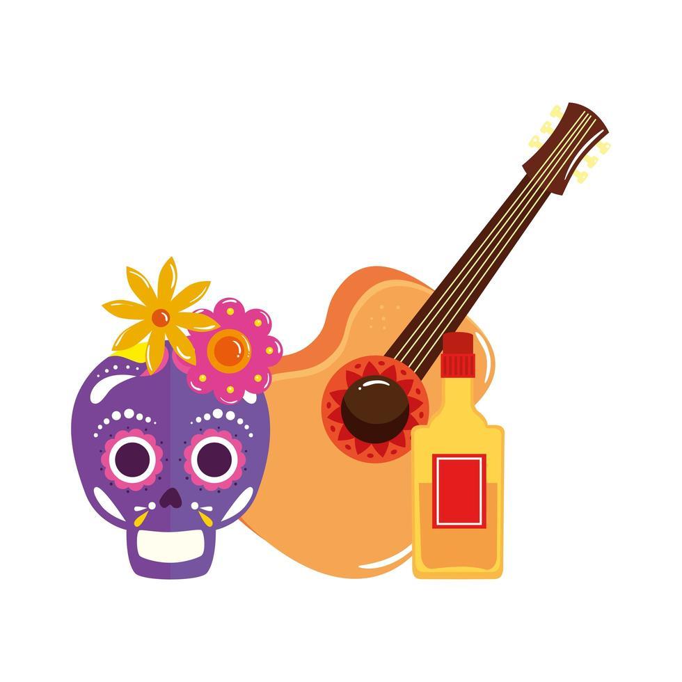 geïsoleerde Mexicaanse schedel gitaar en tequila fles vector ontwerp