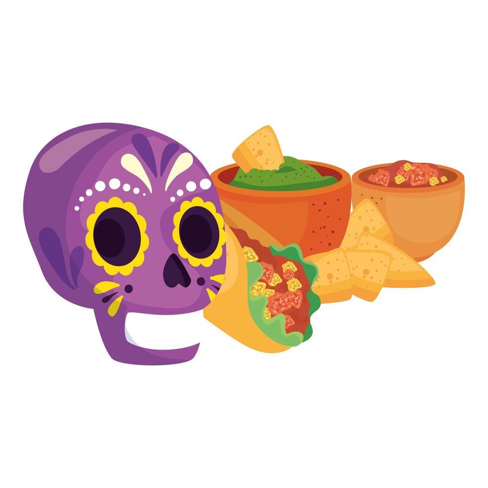 geïsoleerde Mexicaanse schedel burrito kommen met nacho's vector ontwerp