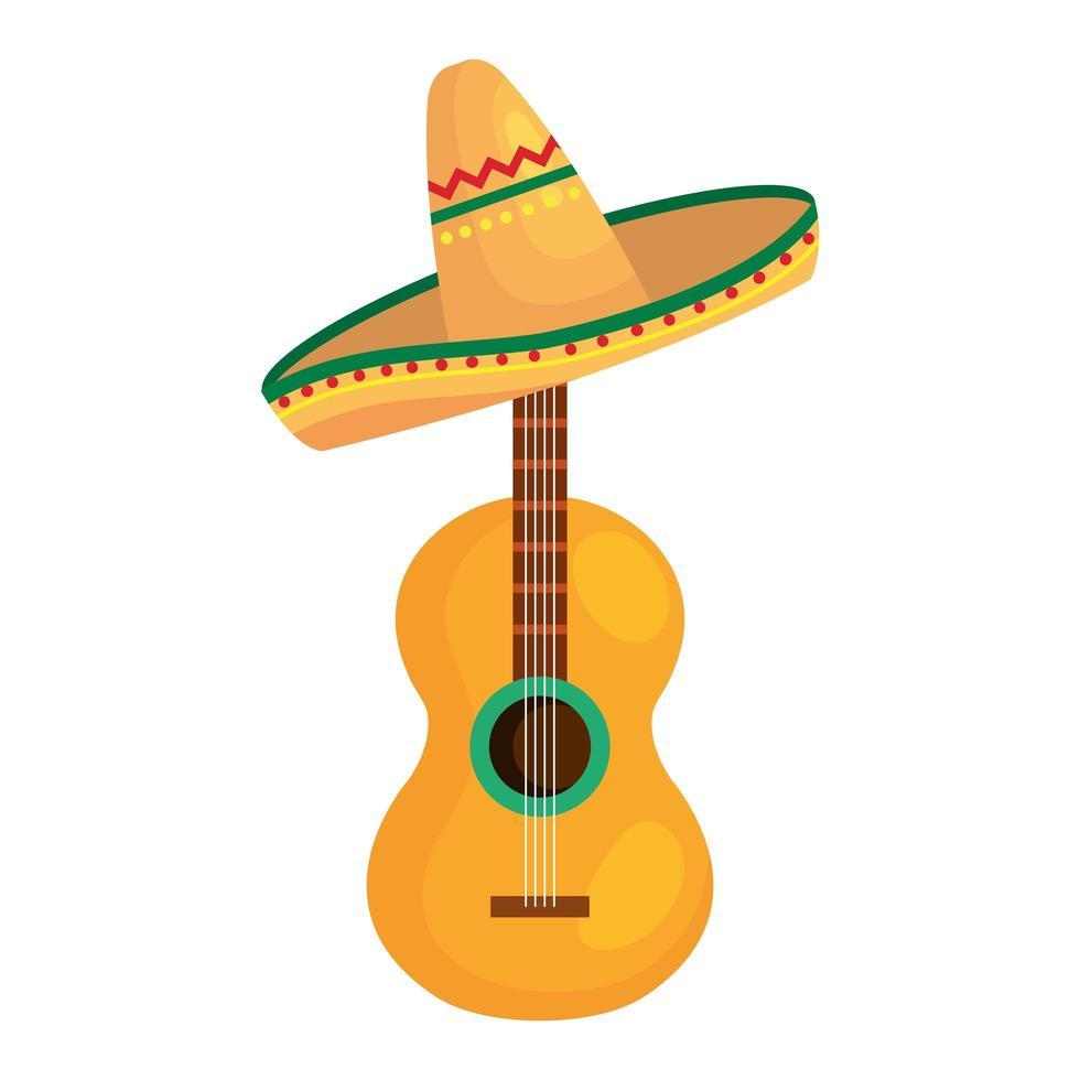 geïsoleerde Mexicaanse gitaar met hoed vector ontwerp