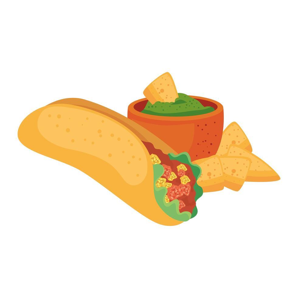 geïsoleerde Mexicaanse burrito nacho's en kom vector ontwerp