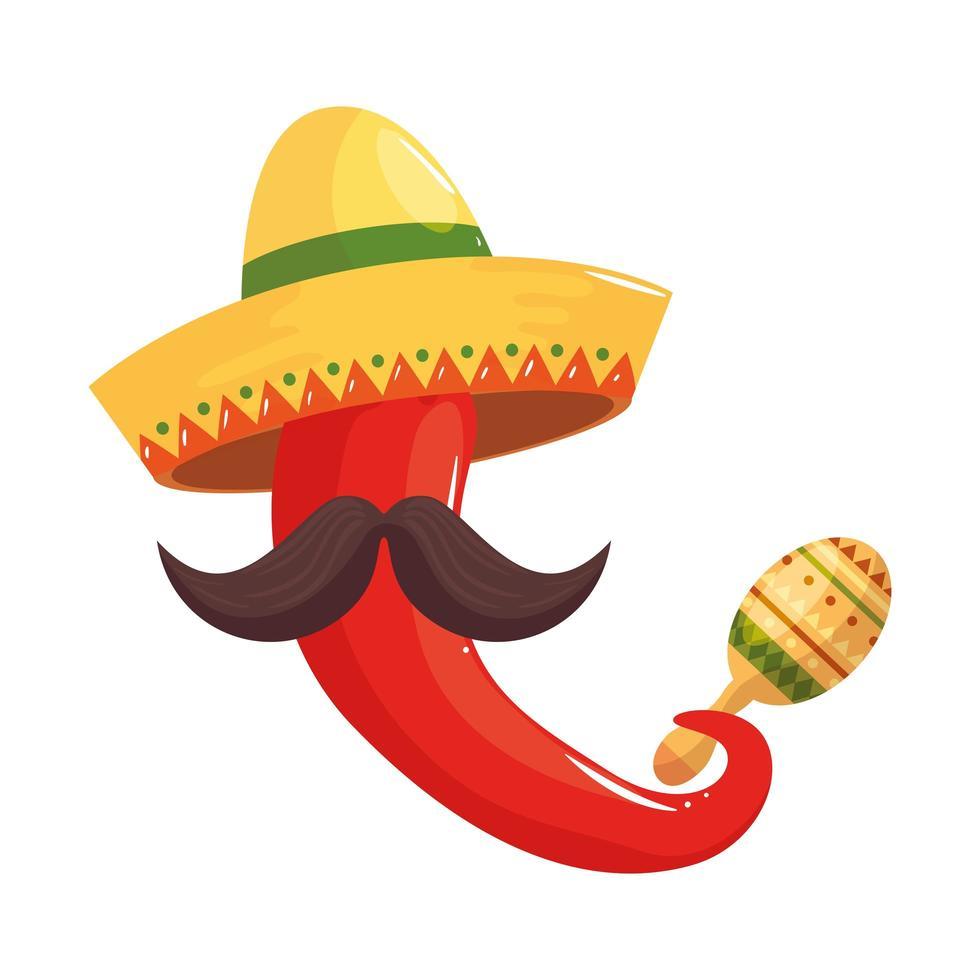 geïsoleerde Mexicaanse chili hoed snor en maraca vector ontwerp