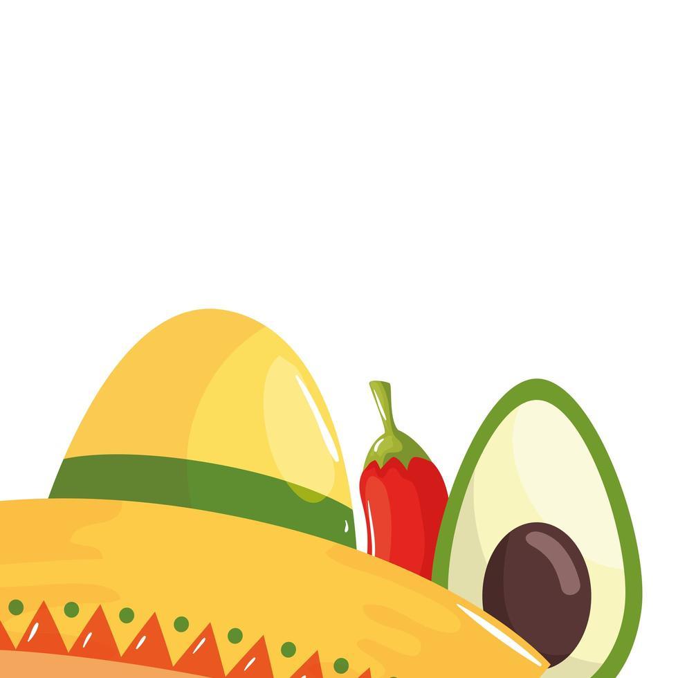 geïsoleerde Mexicaanse hoed avocado en chili vector ontwerp
