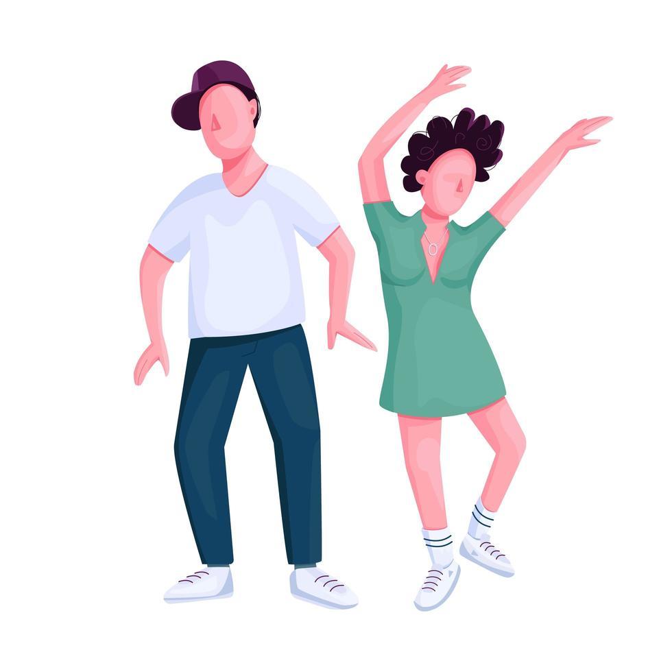 paar dansen samen egale kleur vector gezichtsloos karakter