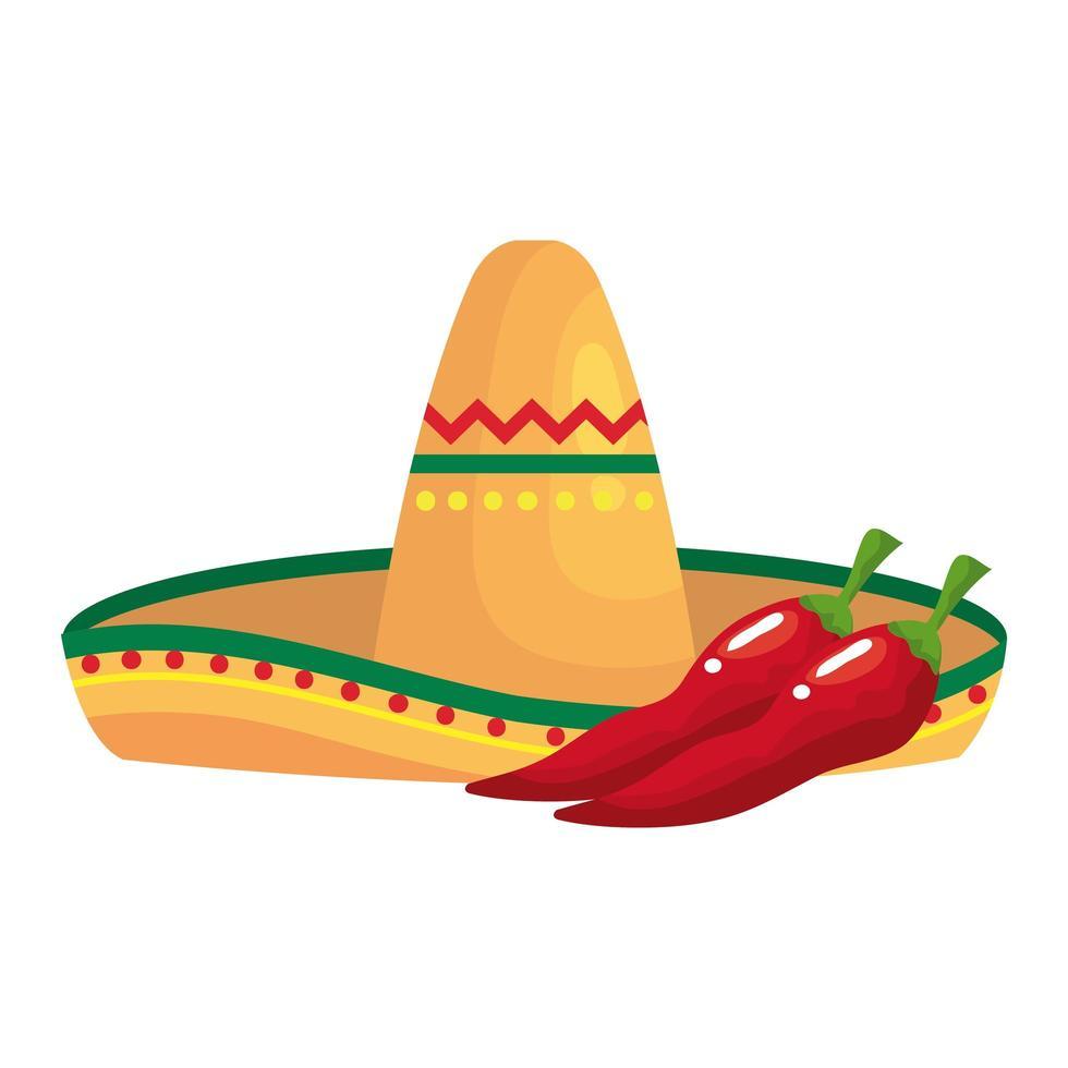 geïsoleerde Mexicaanse hoed en chili vector design