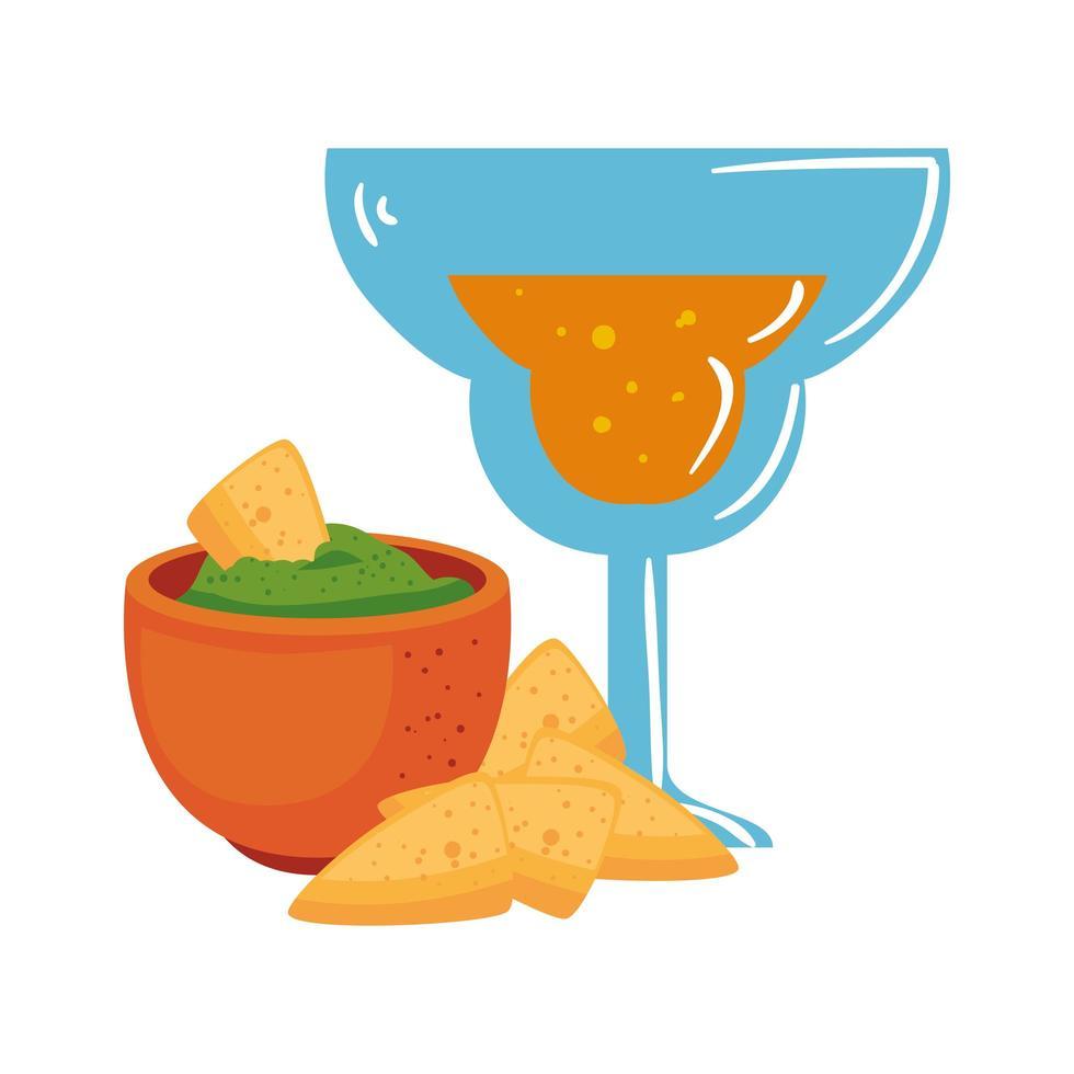Mexicaanse nachoskom en cocktail vectorontwerp vector
