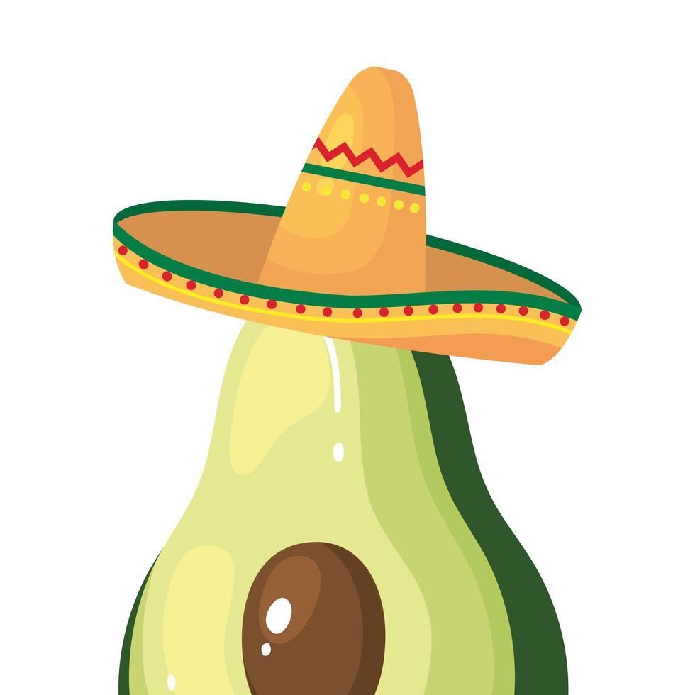 geïsoleerde Mexicaanse avocado met hoed vector ontwerp
