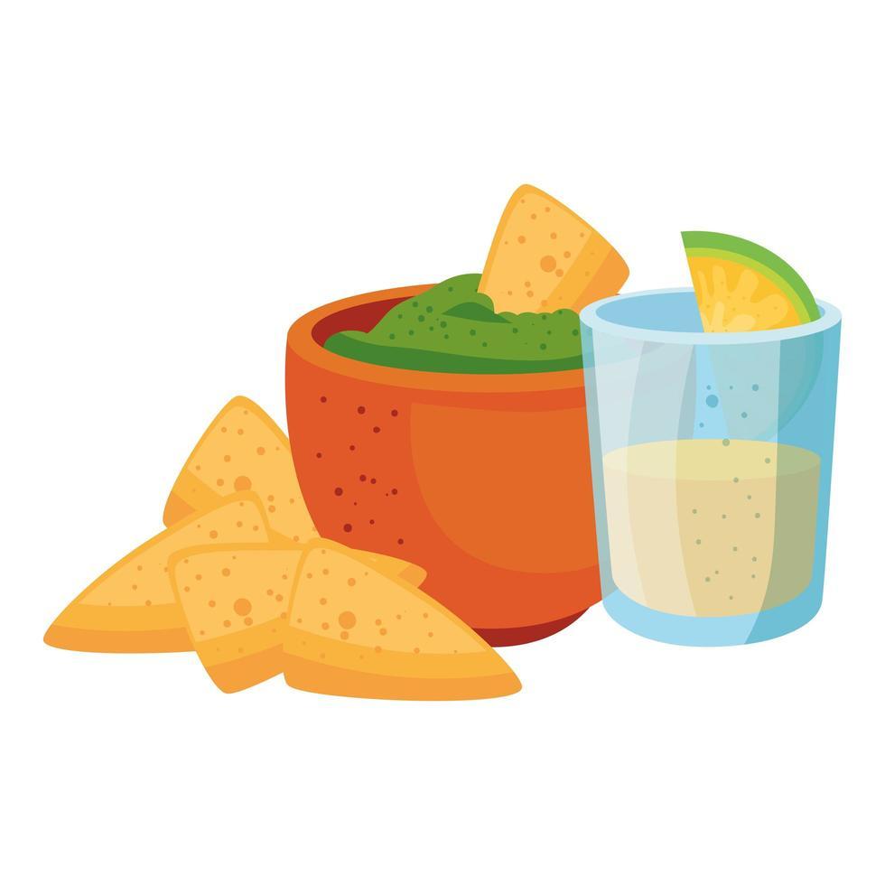 Mexicaanse nacho's en kom en tequila geschoten vectorontwerp vector