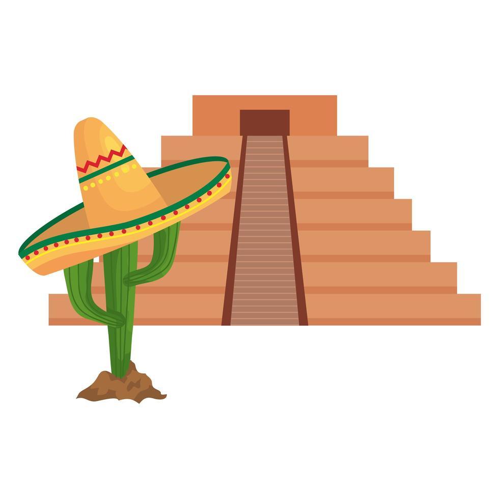 geïsoleerde Mexicaanse piramide en cactus met hoed vector design