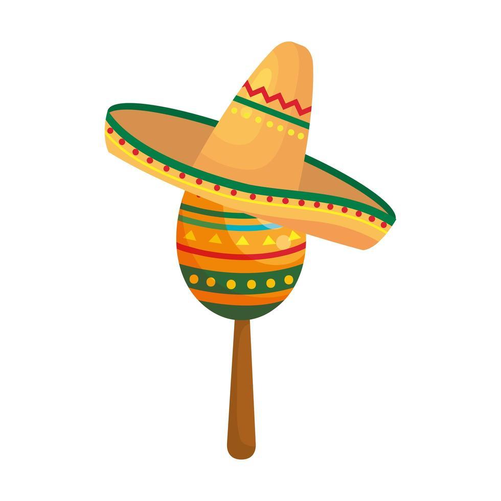 geïsoleerde Mexicaanse maraca met hoed vector ontwerp