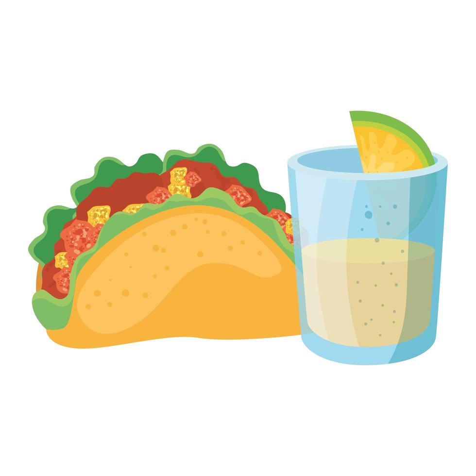 geïsoleerde Mexicaanse taco en tequila shot vector design