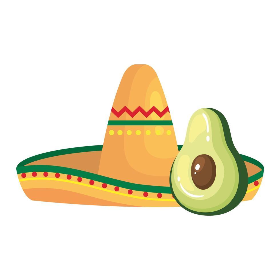 geïsoleerde Mexicaanse hoed en avocado vector ontwerp