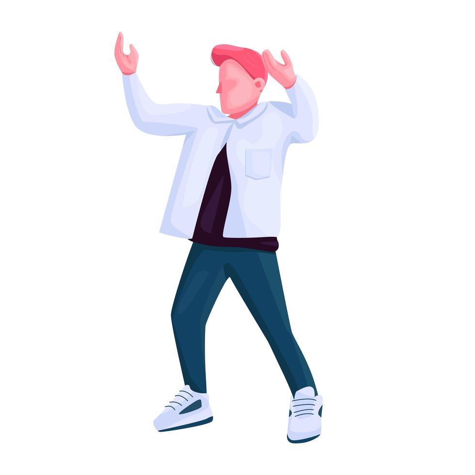 man in trendy kleding dansen egale kleur vector anonieme karakter