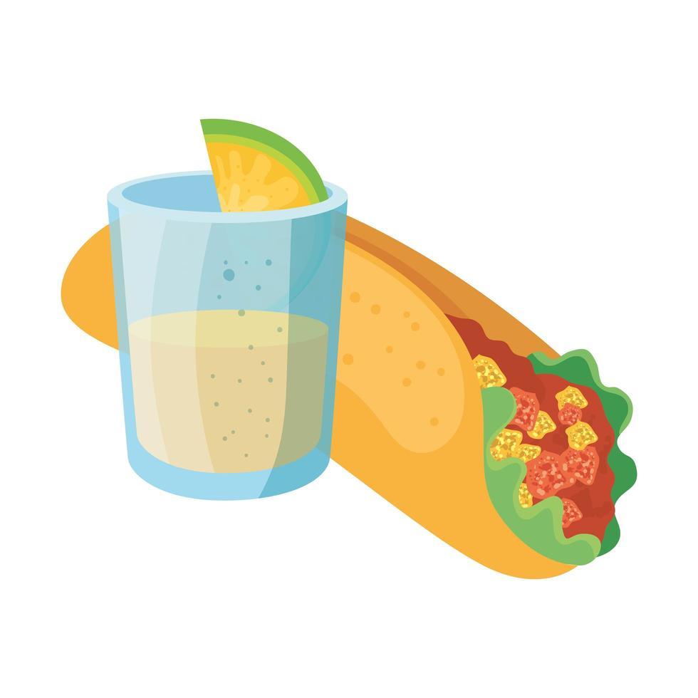 geïsoleerde Mexicaanse burrito en tequila shot vector design