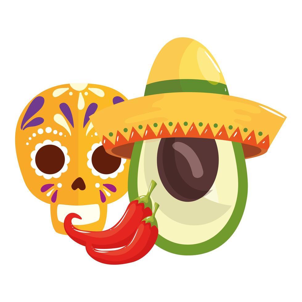 geïsoleerde Mexicaanse schedelchillis en avocado met hoed vectorontwerp vector