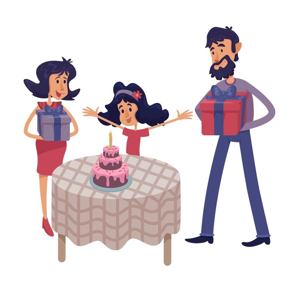 familie vieren kind verjaardag platte cartoon vectorillustratie vector