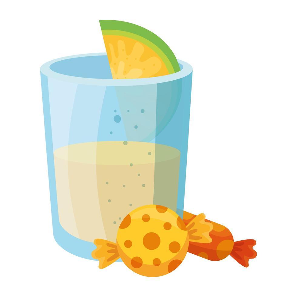 geïsoleerde Mexicaanse tequila geschoten met citroen en snoepjes vector ontwerp