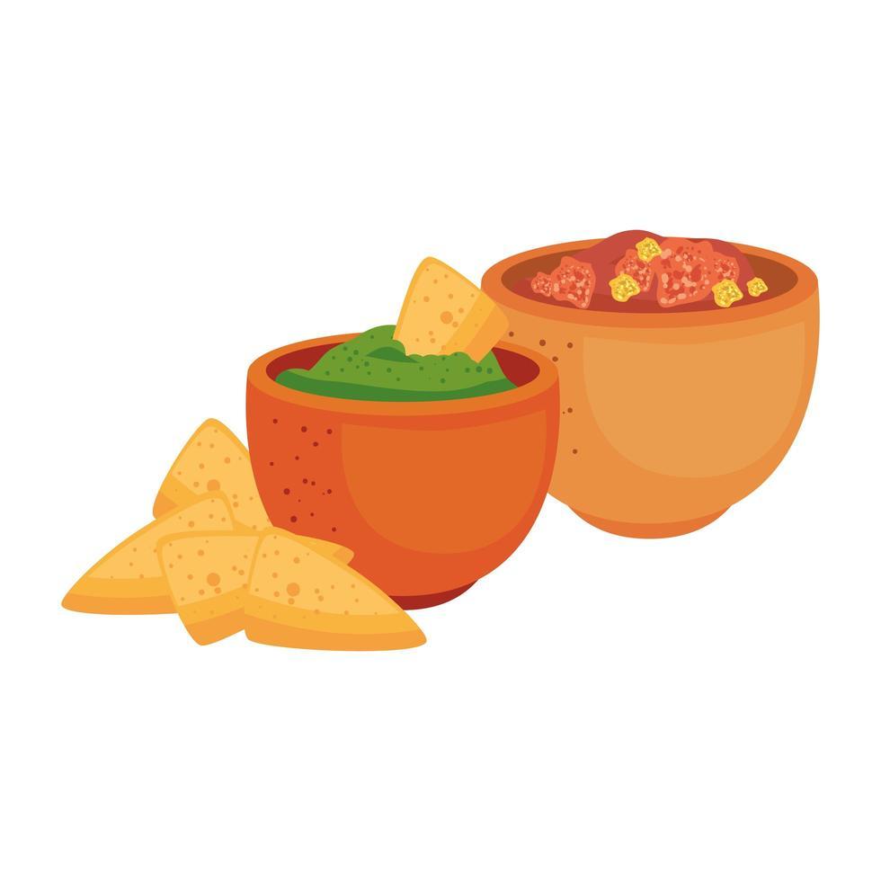 Mexicaanse nacho's en kommen vector ontwerp