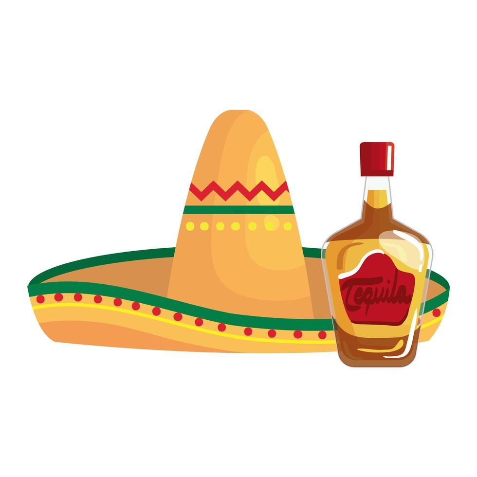 geïsoleerde Mexicaanse hoed en tequila fles vector ontwerp