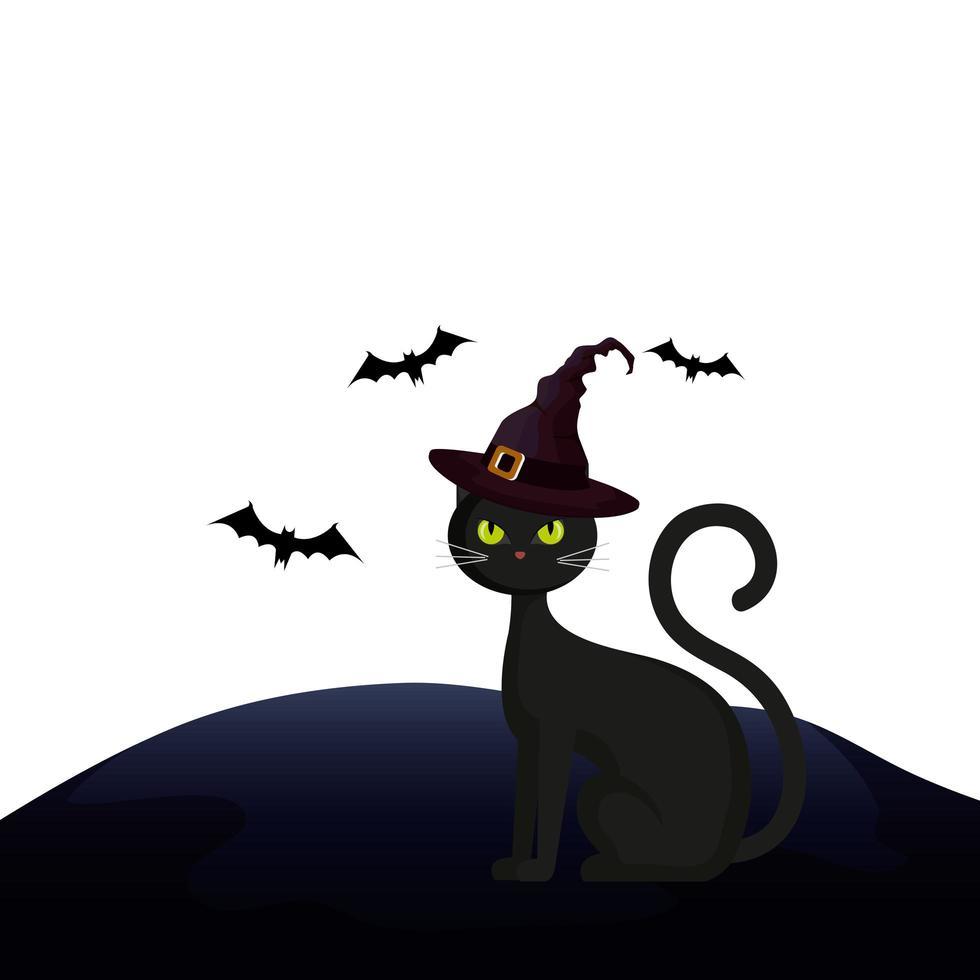kat katachtig halloween met hoed heks en vleermuizen vliegen vector
