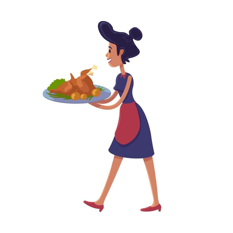 vrouw met geroosterde kalkoen platte cartoon vectorillustratie vector
