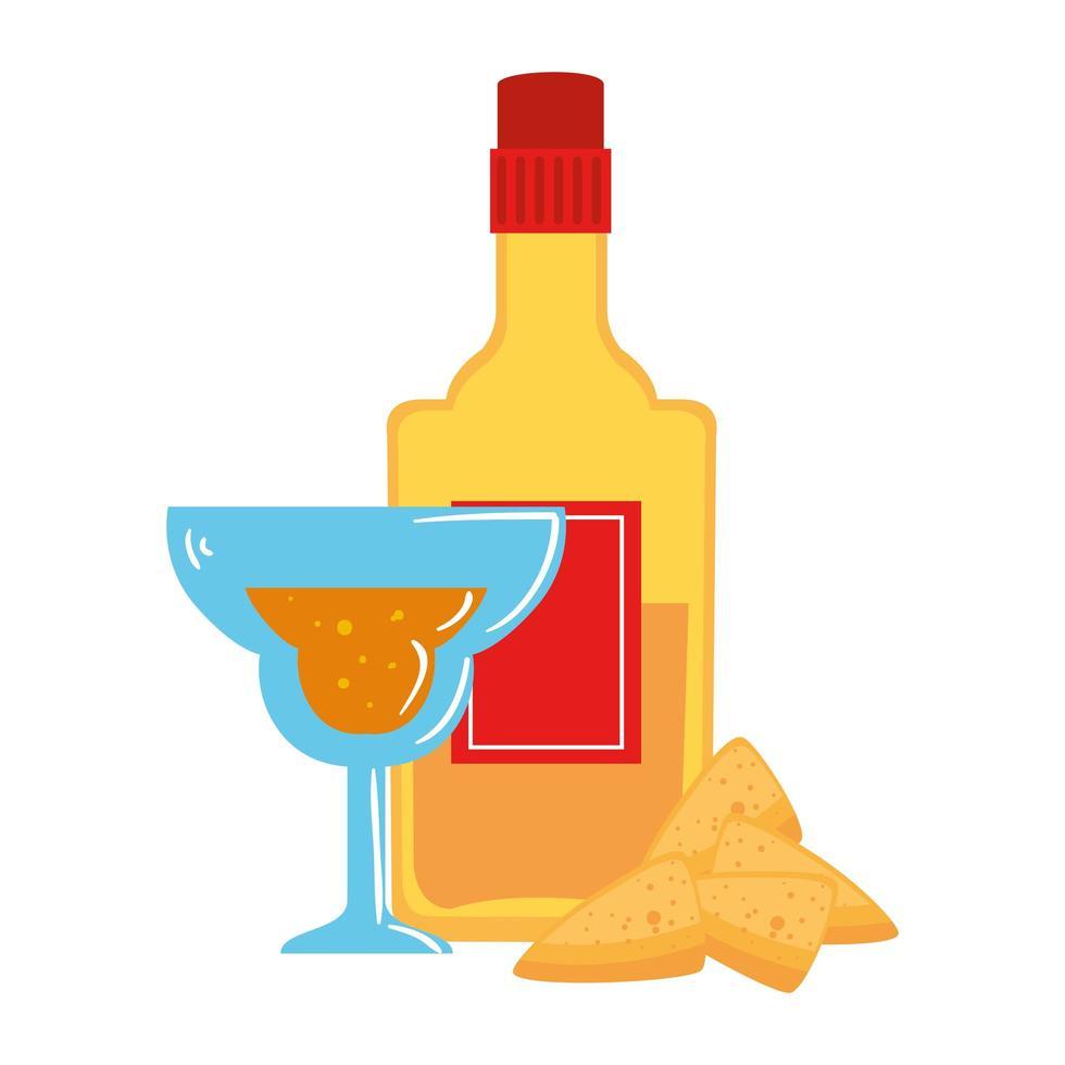 geïsoleerde Mexicaanse tequilaflescocktail en nacho's vectorontwerp vector