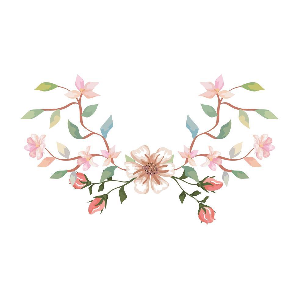 schattige bloemen met takken en bladeren geïsoleerd pictogram vector