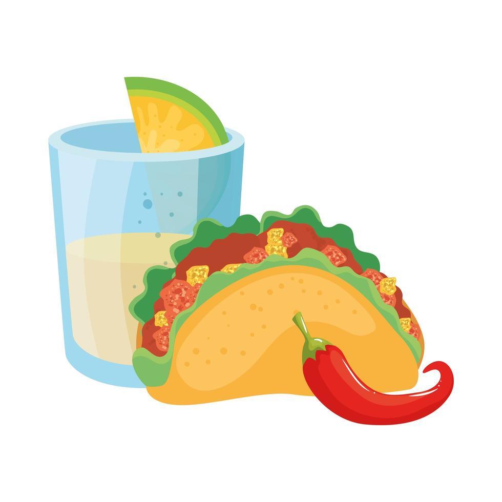 geïsoleerde Mexicaanse taco chili en tequila shot vector design