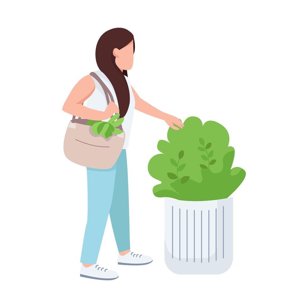 vrouwelijke aanraken bush, natuurliefhebber, jong meisje en groen egale kleur vector anonieme karakter