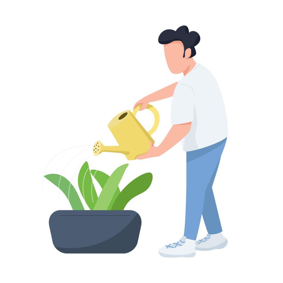 man met gieter, mannelijke tuinman, tuinder egale kleur vector gezichtsloos karakter