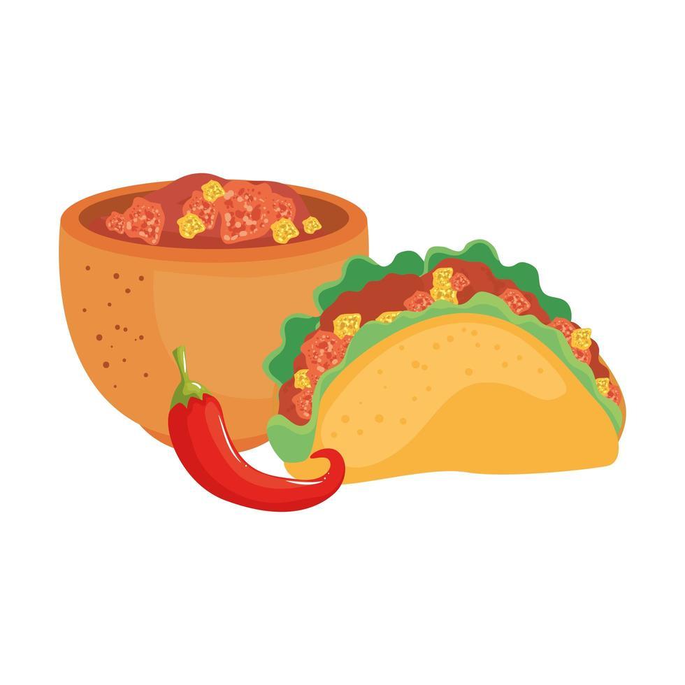 geïsoleerde Mexicaanse taco chili en kom vector ontwerp