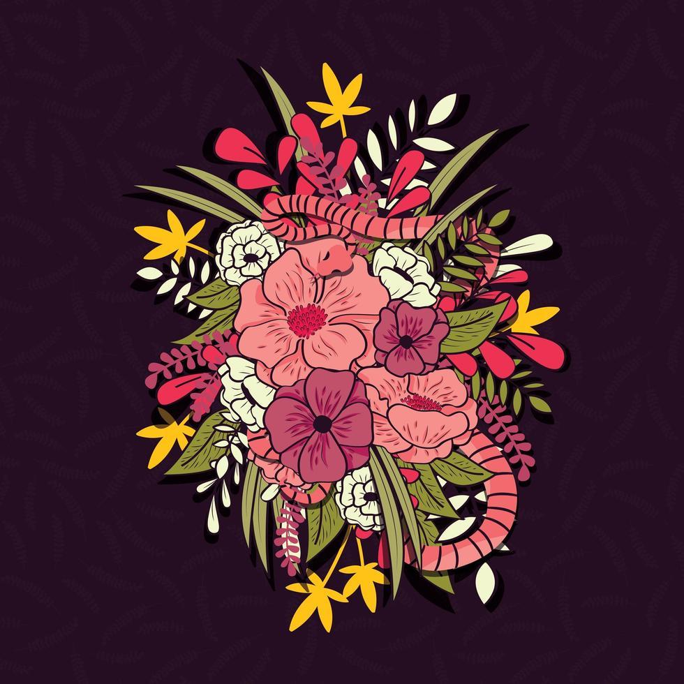 bloemenjungleboeket met slang, tropische bloemen en bladeren, botanische hand getrokken levendige vectorillustratie vector