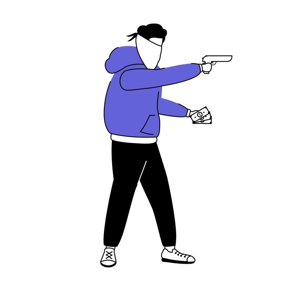 gewapende inbreker egale kleur vector gezichtsloos karakter