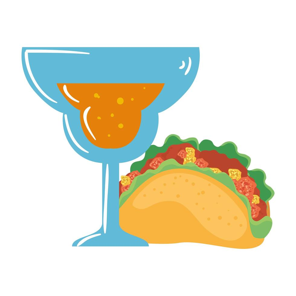 geïsoleerd Mexicaans taco en cocktail vectorontwerp vector