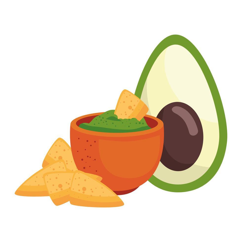 Mexicaanse nacho's avocado en kom vector ontwerp