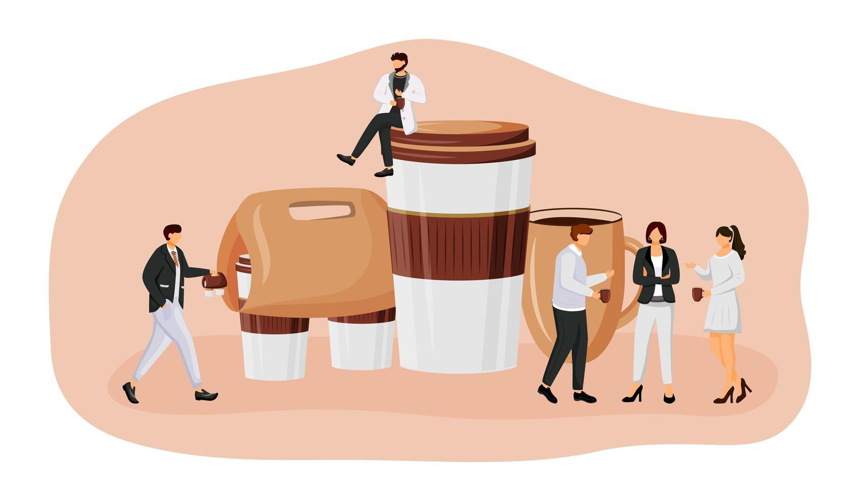 koffie nemen platte concept vectorillustratie vector