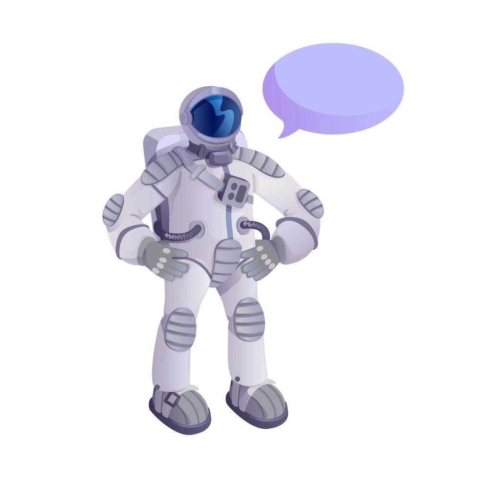 ruimtevaarder in ruimtepak platte cartoon vectorillustratie vector