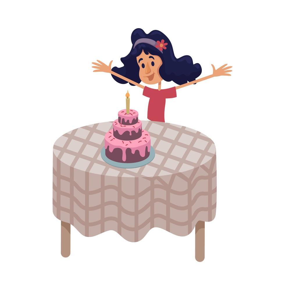 meisje aan tafel met verjaardagstaart platte cartoon vectorillustratie vector