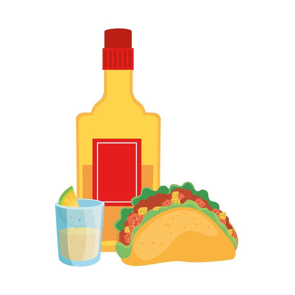 geïsoleerde Mexicaanse taco tequila fles en shot vector design
