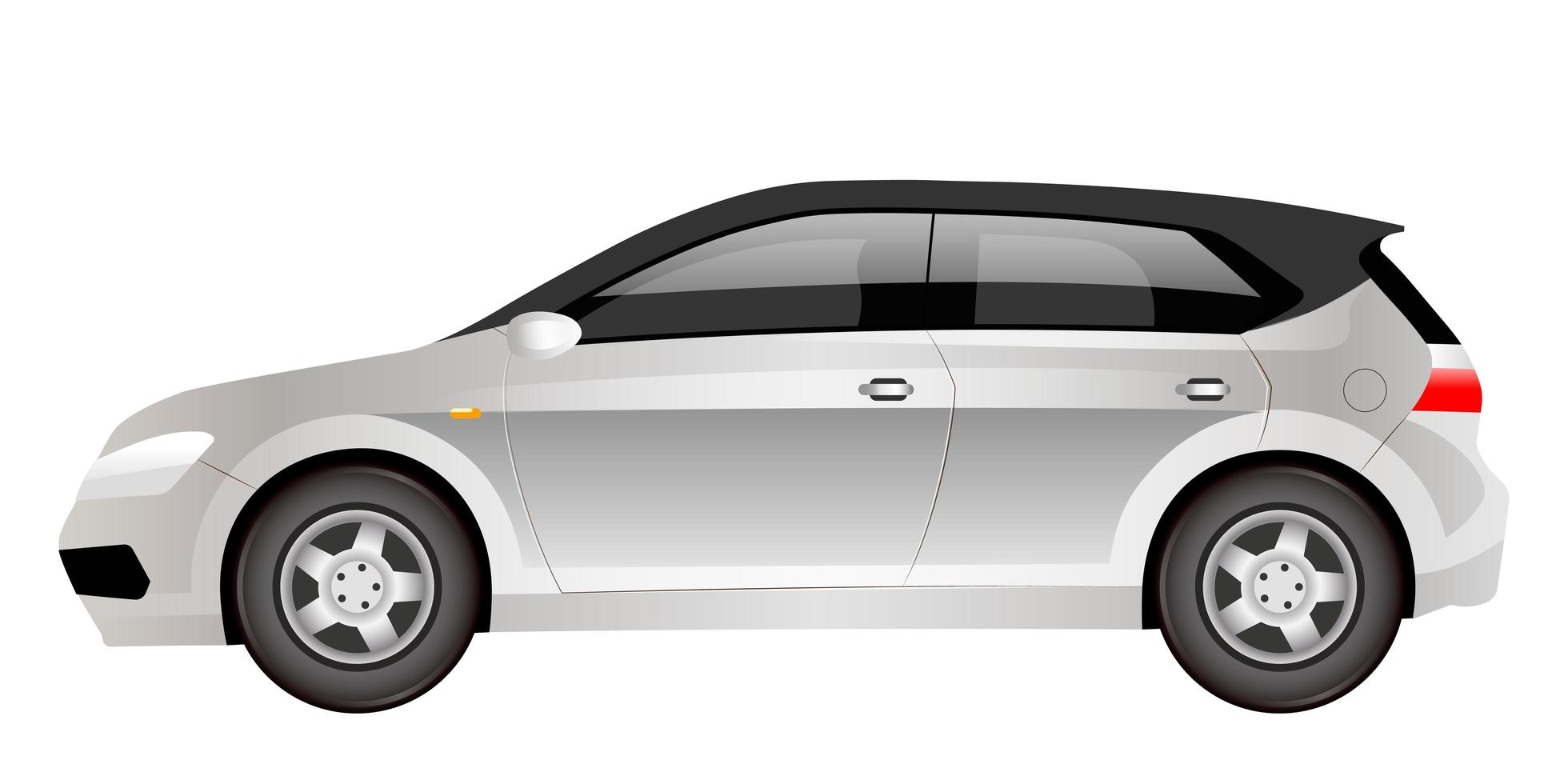 grijze elektrische hatchback cartoon vectorillustratie vector