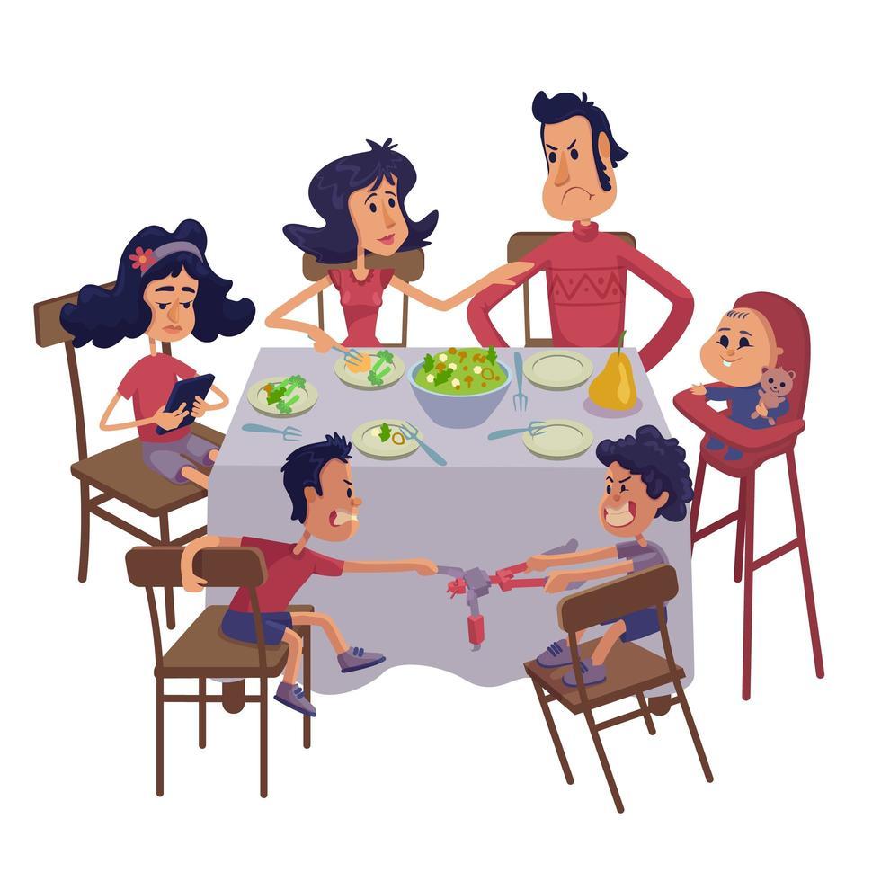 familie samen met maaltijd platte cartoon vectorillustratie vector