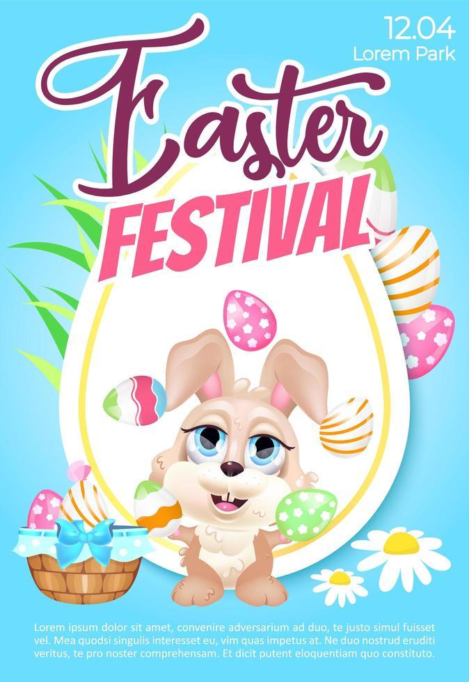 Pasen festival poster platte vector sjabloon