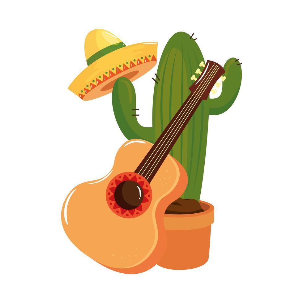 geïsoleerde Mexicaanse cactushoed en gitaar vectorontwerp vector