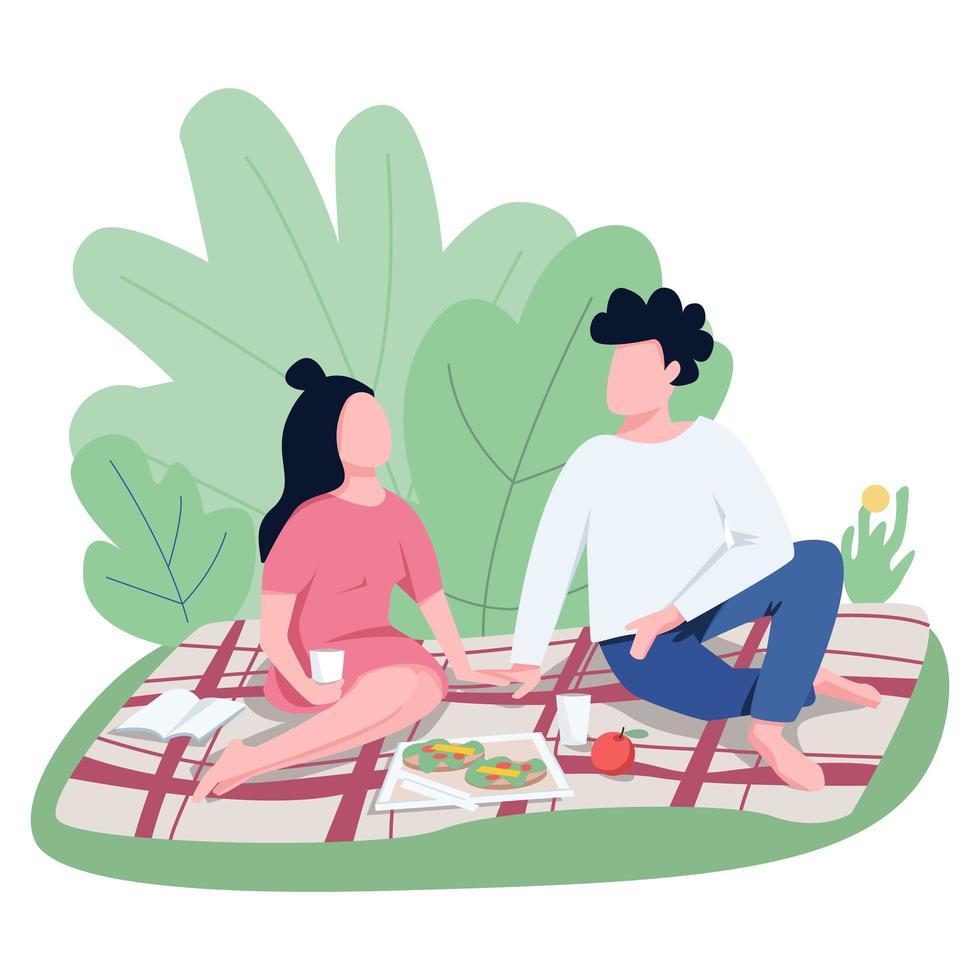 romantische date buitenshuis egale kleur vector anonieme tekens
